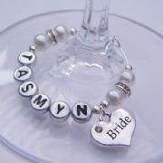 Bride Personalised Wine Glass Charm - Elegance Style